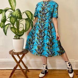 Vintage 1960's cotton midi dress, size med